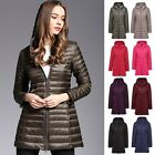 Fashion New Women's Ultra Light Packable 90% Down Long Jacket Slim Fit Coat