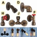 Vintage Retro Iron Water Pipe Wall Lights Industrial Sconce Bar Home Wall Lamp