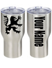 lion names - Heraldic Lion Personalized Name Vinyl Decal Sticker 2 Pieces Cup Tumbler Choice