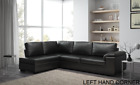 Collingwood Corner Black Leather Sofa in Right or Left Hand Side