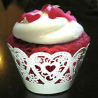 24 x CUPCAKE WRAPPERS SLEEVES HOLDERS PARTY WEDDING CUP CAKE HEART DECORATION