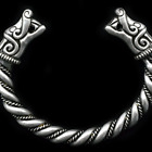 US SHIP Large Viking Wolf Odin's Raven Head Solid Hand Silver Bracelet Bangle photo
