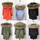 Womens Luxury Fur Cotton Padded Outwear Warm Thicken Jacket Loose Military Coat