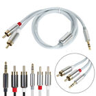 audio leads cables - 1 Meter Stereo 3.5mm Jack Plug to TWIN 2 x RCA PHONO Audio Lead GOLD CABLE Male