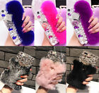 Handmade Luxury Bling Diamond Gems Crystal Rabbit Fur Back Phone Case Cover Hot