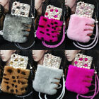 3D Luxury Bling Diamond Crystal Pearl Flower Fuzzy Rabbit Fur Case Cover & Strap