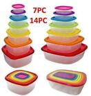 7pc,14pc PLASTIC FOOD CONTAINER SET TOPPERWARE WITH LIDS FOOD STORAGE LUNCH BOX