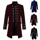 Men's Coat Solid color fashion steampunk retro men's uniform Gothic Victorian