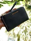 Michael Kors Double Zip Wallet Wristlet Leather Credit Card Phone Holder Case