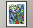 Fine Art Prints Colorful Flowers Whimisical Psychedelic Contemporary Abstract