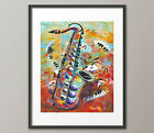 Lg. Canvas and Fine Art Prints Contemporary Abstract Sax Piano Playing Cards Art