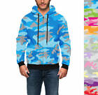 Colored Camouflage Men Zip Up Hoodie XS - 3XL All-Over-Print