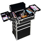 4-in-1 Rolling Makeup Case Aluminum Cosmetic Trolley Draw-Bar  Beauty Organizer