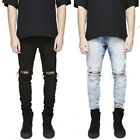 US Men Slim Fit Straight Skinny Jeans Ripped Denim Pant Long Trousers Size 30-42