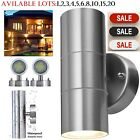 Stainless Steel Up Down Wall Light GU10 IP44 Double Outdoor Wall Light Chrome Uk