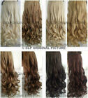 UK Real Thick Clip In Hair Extensions Synthetic 1PC Curly 3/4 Full Head Long
