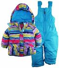 Rugged Bear Baby Girls Snowflake Stripes Snowboard Jacket Snowsuit Ski Bib Set