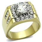 Men's Gold IP Stainless Steel AAA Cubic Zirconia Wedding Ring New Sizes 8-14