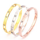 Stainless Steel 14K Rose Gold Roman Letters Drill Crystals Bangle Bracelet New