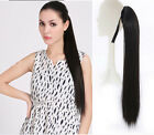 Womens Human Hair Extension Ponytail String Wrap-on Clip in Long Straight Pieces