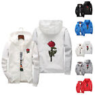 white overcoat - Men Women Couple Rose Embroidery Casual Jacket Hooded Coat Zipper Up Overcoat