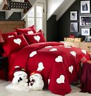 Love Red Fur Hearts 100%Cotton Duvet Cover Bedding Set High Quality 3/4pcs UPS image