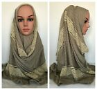 Premium JERSEY Polyester Stretch Scarf Hijab with Lace 170x60 cm