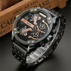 Oulm Oversize Big Face Analog Rose Gold Quartz Mens Steel Wrist Watch Xmas Gift