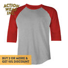 Mens BASEBALL TEE Shirt T Shirt 3/4 Sleeve RAGLAN Shirt Casual Plain T Shirt
