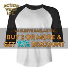 SHAKA MENS PLAIN BASEBALL T SHIRT 3/4 SLEEVE CASUAL RAGLAN TEE ACTIVE HIP HOP image