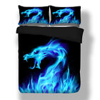 Blue Flame Dragon Twin/Full/Queen/King Duvet Cover Pillow Case Bedding Set