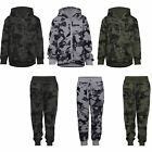 Kids Camouflage Print Jogging Bottoms or Hooded Top Teens Boys Tracksuit 3-14 Y