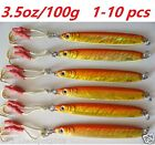 Knife Jigs 3.5oz/100g Orange Vertical Butterfly Saltwater Fish Lures 1 to 10 pcs