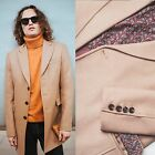 SALE - Mens Long Overcoat Wool Camel Retro Cromby Style Winter Coat L XL