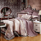 Luxury Silk Cotton Blend Lace Duvet Cover Sets Jacquard Brown Queen King Size US