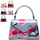 Ladies Patent Floral Top Handle Clutch Bag Poppy Butterfly Handbag A34871-1