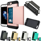 2-Credit Card Holder Case F iPhone X 6S 7 8 Plus With Slide Card Slot Back Cover