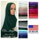 Premium Cotton Jersey Plain 160-60cm Muslim Scarf 26 colors U.S. seller