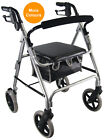 Lightweight Rollator 4 Wheeled Walker with Seat & Bag Mobility Aid