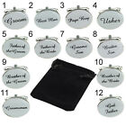 Men's Oval Cuff Links Groom Best Man Wedding Cufflinks + Gift Pouch Showy