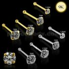 22G-6mm 9K Solid Gold Ball End Round Quality Machine Cut Jeweled Nose Pin Stud $6.02 USD on eBay