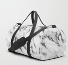 White Marble Duffel Bag - Gym Bag - Travel Bag - Shoulder Strap - Fashion Bag