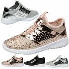 WOMENS SHOES LADIES TRAINERS SNEAKERS DIAMANTE METALLIC SPORTS FITNESS SIZE NEW