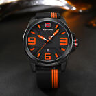 Black Men's Sports Quartz Analog Rubber Band Date Display Waterproof Wrist Watch image