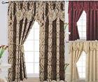 "Grandeur Jacquard Curtain Panel with Attached Waterfall Valance 54"" X 84"" Arlene"