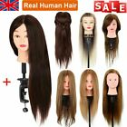 Salon Real Human Hair Training Head Hairdressing Styling Mannequin Doll + Clamp