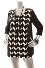 NEW CHICO'S Women 3/4 Sleeve Color Block Check  Top  Black White 0  2 3 4