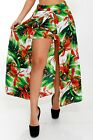 Plus Size Floral Front Slit Skort Long Maxi Skirt Dress with Shorts 1X 2X 3X