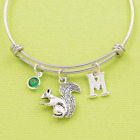 Squirrel bracelet steel bangle initial birthstone personalised gift woodland