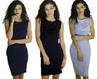 WOMENS LADIES SLEEVELESS BOODYCON MIDI DRESS WITH KNOTTED FRONT AND BACK ZIP